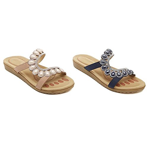 UK3 Sandali pantofola Rosa XIAOLIN open strass vacanza Colore sabbia perla estate signore donna toe scarpe 5 dimensioni perline Blu casual moda EU36 spiaggia opzionali CN35 di dimensioni piatte OOrqxd1S