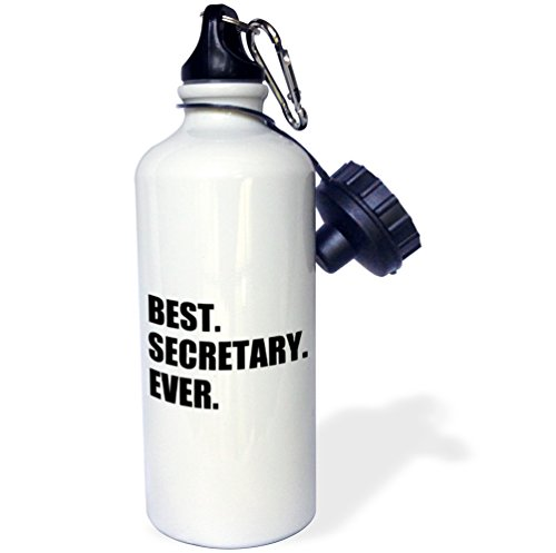 3dRose wb_185020_1 Best Secretary Ever, Fun Gift for Talented Secretaries, Black Text Sports Water Bottle, 21 oz, Brown