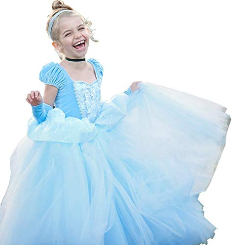 LATFZ Princess Dress Up Cinderella Costumes Kids Halloween Party Cosplay Dress for Little Girl 2-12T (1 Layer Lining + 2 Layers Tulle, 110 cm Age 4-5 Years)]()