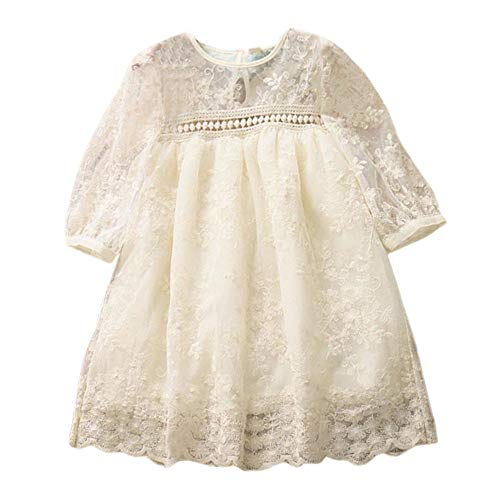 Birthday Dresses Princess For Girls Ceremony Short Sleeve Lace Couture Solid Color Ball Gowns Wedding Party Toponly ()