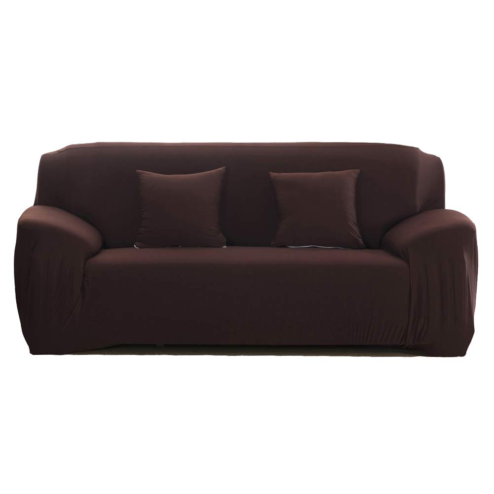WOMACO Sofa Covers Stretch Slipcover 3 Seater Elastic Couch Cover, 3 Seats (74-90''), Coffee by WOMACO