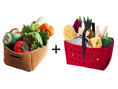 Ikea Duktig 14-piece Children's Vegetables Set And Shopping Basket