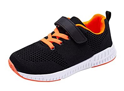 Casbeam Unisex-Child Boys and Girls Cute Casual Running Shoes Black Size: 1 Little Kid