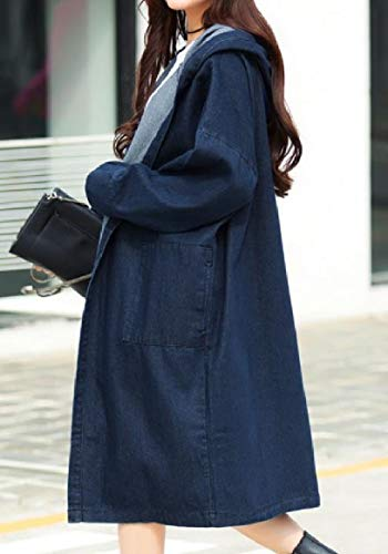 Single Long Sleeve Women's RkBaoye Breasted Denim Hood Blue Windbreaker Jackets Mid Long tcUOO0qw