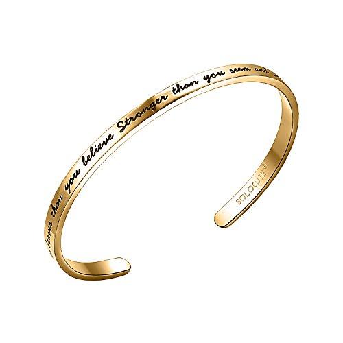 SOLOCUTE Gold Cuff Bangle Bracelet Engraved
