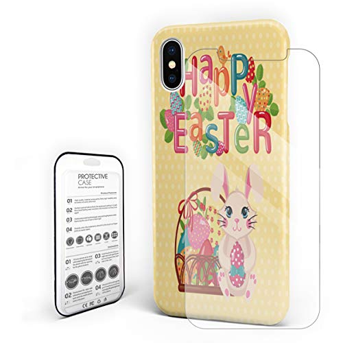 Compatible with iPhone X Case, Hard PC Back Phone Case with Tempered Glass Screen Protector Colorful Letter Happy Easter and Fat Rabbit Shockproof Protective -