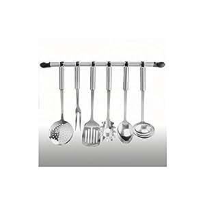 Barra de cocina de acero inoxidable con 6 ganchos (Sin utensilios)