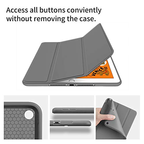 GUDOU 2019 iPad Mini 5 Smart Case,Premium Shockproof Case,Soft TPU Back Cover,Smooth Rubberized Trifold Stand Front Cover with Auto Sleep/Wake for Apple iPad Mini 5th Generation (D-Grey)