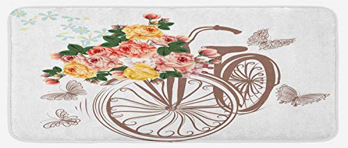 Lunarable Flower Kitchen Mat, Bike Basket Full of Spring Flowers and Leaves Natural Themed Romantic Style Image, Plush Decorative Kitchen Mat with Non Slip Backing, 47 W X 19 L Inches, Multicolor