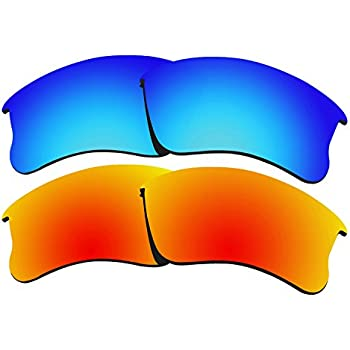 228ef1d5e1a 2 Pairs COLOR STAY LENSES 2.0mm Thickness Polarized Replacement Lenses for Oakley  Flak Jacket XLJ Fire Red   Blue