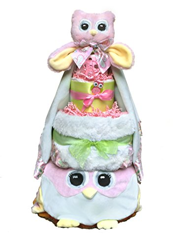 (Owl Diaper Cake-cute Baby Girl Gift for Baby Shower-Pink Diaper Cake Makes a Perfect Baby Gift)