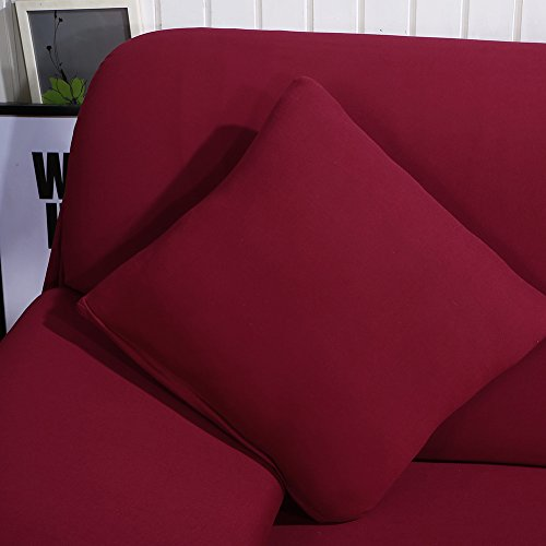Beacon Covers Shape, 2pcs Polyester Stretch Slipcovers + L-Shape Wine-Coloured