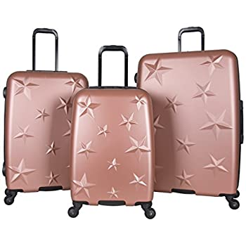 Image of Aimee Kestenberg Women's Star Journey Hardside 4-Wheel 3-Piece Luggage Set: 20' Carry-on, 24', 28', Rose Gold Luggage
