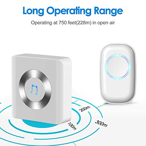 DLINMEI Wireless Remote Doorbell Alarm System Basic Starter Kit Includes 1 Plug-in Receiver And 1 Remote Button Transmitter White by DLINMEI (Image #3)