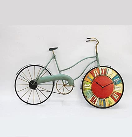 Amazon.com: Iron Antique Style Bicycle Clock Wall Art Metal Wall ...
