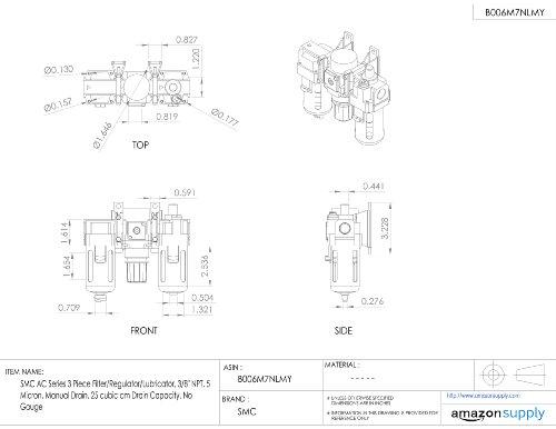 Smc Ac Series 3 Piece Filterregulatorlubricator 38 Npt 5