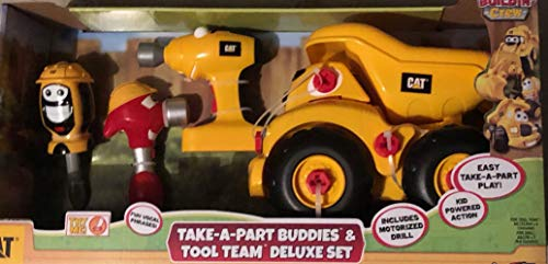 (Toy State Caterpillar CAT Buildin' Crew Deluxe Set. Take-A-Part Buddies Movin' Morgan Backhoe Light & Sound Vehicle.)
