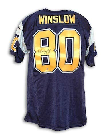 Autographed Kellen Winslow San Diego Chargers Navy Blue Throwback Jersey - Certified Authentic Signature ()