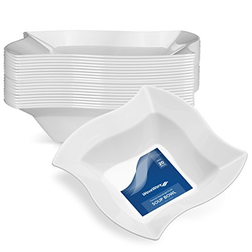 WAVEWARE PLASTIC PARTY DISPOSABLE BOWLS | 12 Ounce White Hard Square Wedding Soup Bowls, 20 Ct | Elegant & Fancy Heavy Duty Hard Party Supplies Plates for all Holidays & Occasions 12 Oz White Plastic Bowl