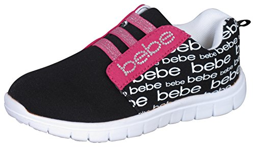 Bebe Girls Athletic Sneakers With Printed Heat Seals  13 1  Black Fuchsia