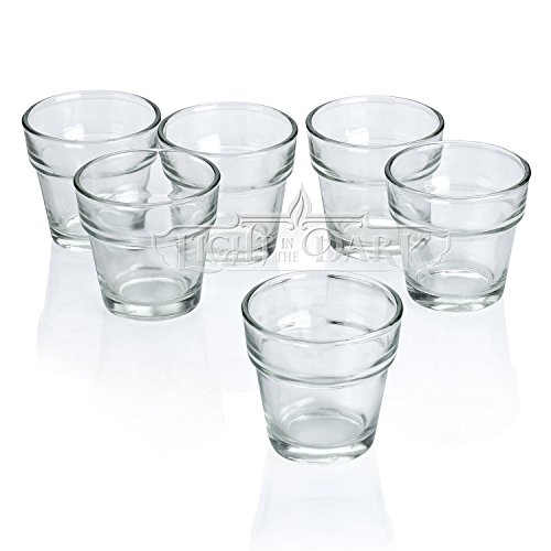 Light In The Dark Clear Glass Flower Pot Votive Candle Holders Set of 72