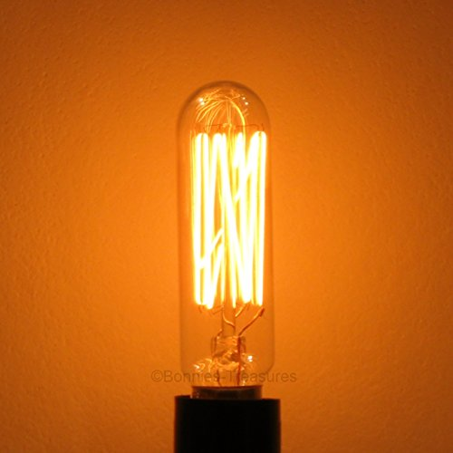 6-Pack 25W Edison T6 Radio Chandelier Antique Reproduction Light Bulb, E12 Candelabra Base, Squirrel Cage Filament