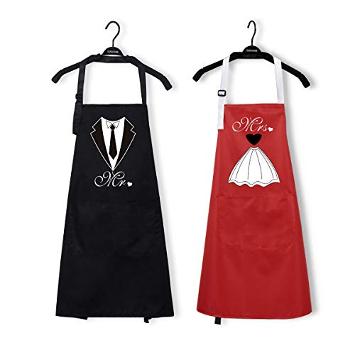 2Pcs Couple Kitchen Apron with Pocket, Mr. and Mrs. Apron Tie Dress Women Men Apron, Black Red Cooking Apron, Waterproof Love Anniversary Apron for Bridal Weddings Gift Keep Clean