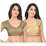RZLECORT Women's Silk Cotton Embroidered Blouse (RK-B-BL_0650-RK-G-MULTI-BL_0650_L_Golden) (Pack of 2)
