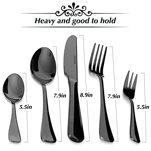 Black Silverware Set with Nice Gift Box, Merear 20-Piece Stainless Steel Flatware Cutlery Set for 4, Include Knife/Fork/Spoon for Kids and Adults, Shiny Look, Black Finish, Perfect Kitchen Gift Set