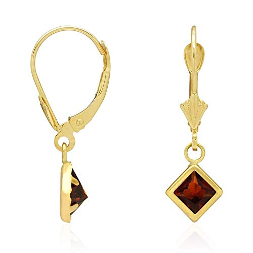 - 14k Yellow Gold Bezel Princess Cut Birthstone Dangle Drop Leverback Earrings, Garnet