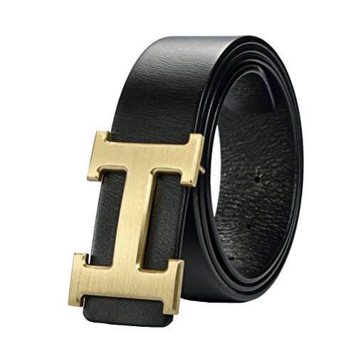 IGOBLIN Men Business Casual H Word Deduction Leather Belt with Pin - Belts Wholesale Designer