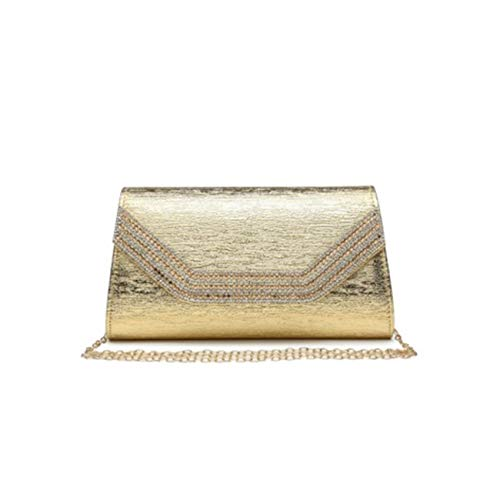 LeahWard Women's New Evening Diamante Party Clutch Bag For Women Wedding Prom 1704 Gold 449