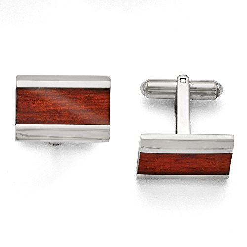 Enameled Cuff (Chisel ~ Stainless Steel Polished Red/Orange Wood Inlay Enameled Cuff Links)