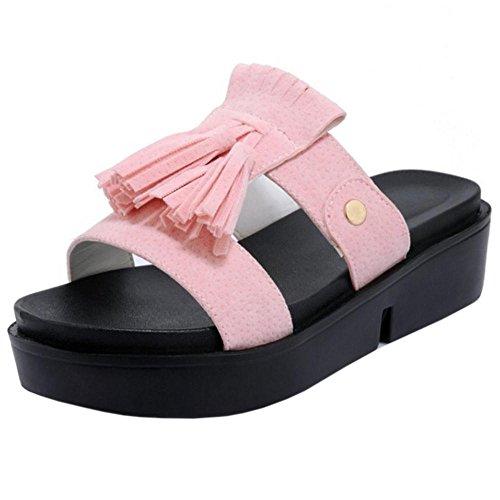 Taoffen Kvinna Halka På Sandaler Flatform Tofflor Rosa