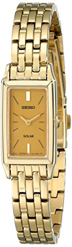 Baguette Gold Tone Bracelet - Seiko Women's SUP030 Solar Gold-Tone Bracelet Dress Watch