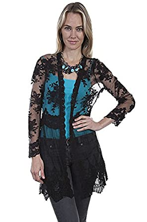 Edwardian Style Blouses Scully Cardigan Womens Long Sleeve Lace Scalloped Hemline HC276 $79.90 AT vintagedancer.com