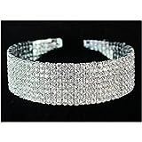 Janefashions 8-row Eight Rows Clear White Austrian Rhinestone Crystal Choker Necklace Collar Dance Party Wedding N077s Silver