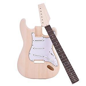 Andoer® Electric Guitar Basswood Body Maple Neck Rosewood Fingerboard DIY Kit Set