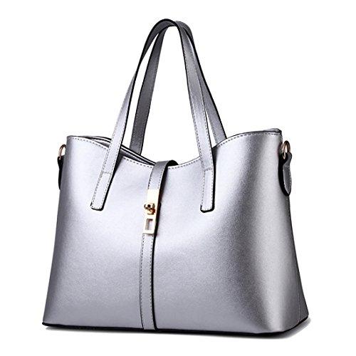YYWLarge Tote Bag - Bolso de mano grande Mujer plata
