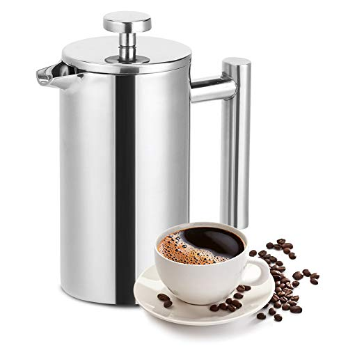 Prensa Francesa Cafetera Acero Inoxidable 350Ml Cafetera de Émbolo Pequeña con Doble Pared French Press Cafetera…