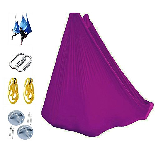 SUPOW-Aerial-Yoga-Hammock-Set-Includes-Hammock-Carabiners-Extension-belts-Steel-Anchors-Screws-Inversion-Sling-for-Yoga-Bodybuilding-Antigravity-Hammock-Kit