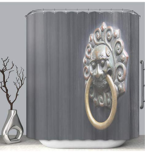 - BEICICI Color Shower Curtain Liner Anti-Mildew Antibacterial Asian Lion Door Knocker on Black Background Custom Shower Curtain Bathtub Bathroom Accessories 48W×72Linch