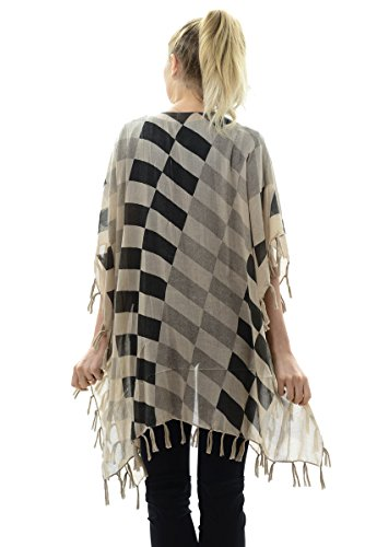 BYOS Womens Fashion Lightweight Printed Open Front Kimono Cardigan Beach Cover-up Various Patterns (Beige Contrast Checkerboard) by Be Your Own Style (Image #2)