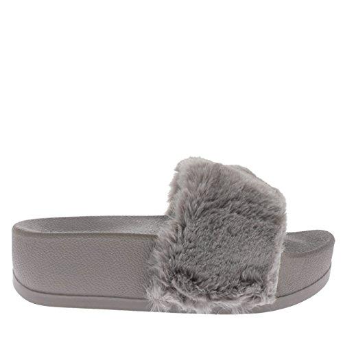 Viva Womens Sassy Chic Summer Single Strap Open Toe Fluffy Flat EVA Fashion Sandals Grey Platform 7MLbA