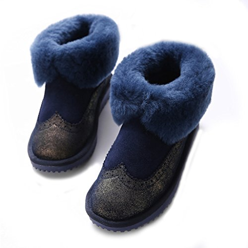 Shearling Boots Boots Leather Ankle Winter TITAN Skidproof Lined Women's Suede BULL Navy Snow 1wqABYX