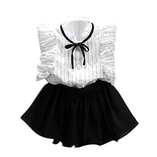 Girls Stripe Shirt Chiffon Culottes 2 Pieces Set Clothes Skirt Suit (White_A, 2-3 Years(100)