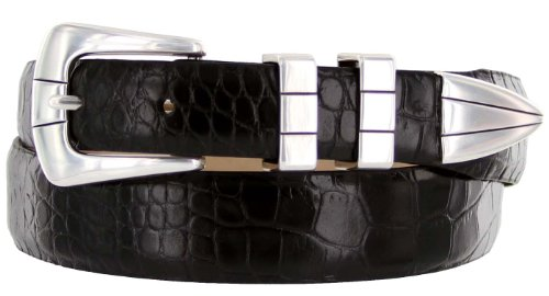 Vince Italian Calfskin Leather Designer Golf Dress Belt for Men (38, Alligator Black) - Black Calfskin Belt Strap