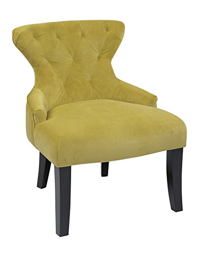 Avenue Six CVS26-B39 AVE SIX Curves Hour Glass Accent Chair with Espresso Finish Solid Wood Legs, Basil Velvet Fabric, (Office Star Quick Assembly)