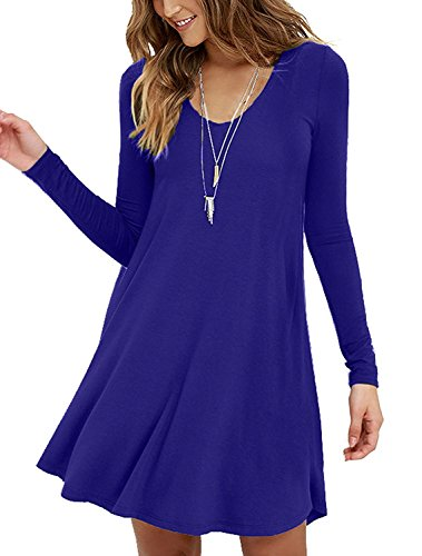 Viishow Womens Comfy Swing Tunic Long Sleeve Solid T-Shirt Dresses(S, Long Sleeve Royal Blue)