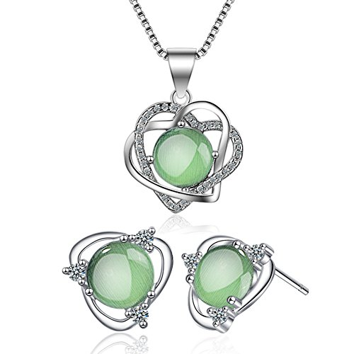 I'S ISAACSONG 925 Sterling Silver Healing Green Moonstone Crystal Charm Love Heart Pendant Necklace and Earring Jewelry Set for Women (Green Moonstone Heart Charm Jewelry Set)